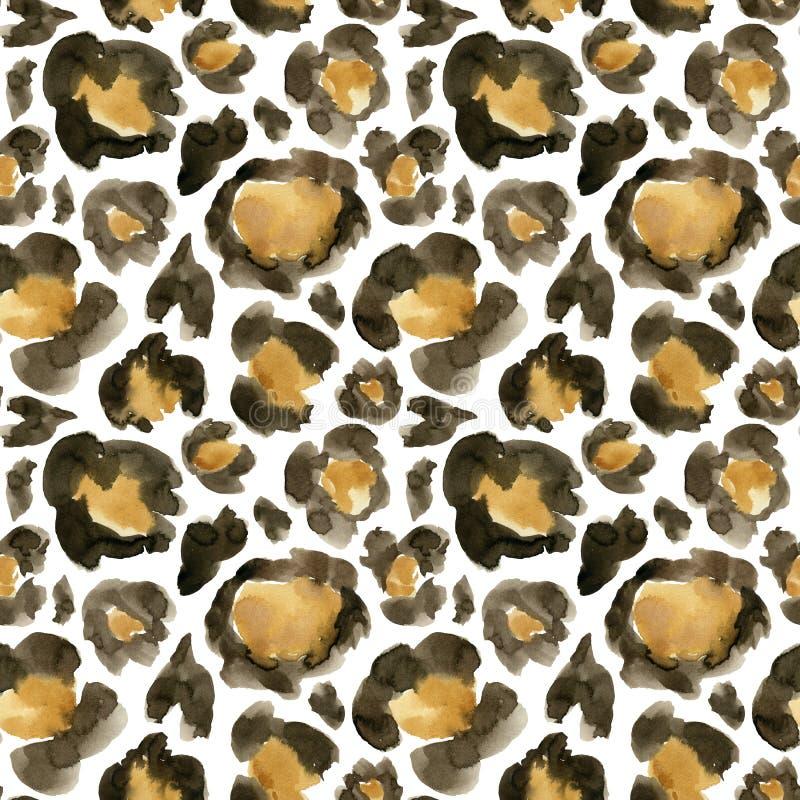 水彩豹子伪装大无缝的样式 与被隔绝的动物点的手画美好的例证  库存例证
