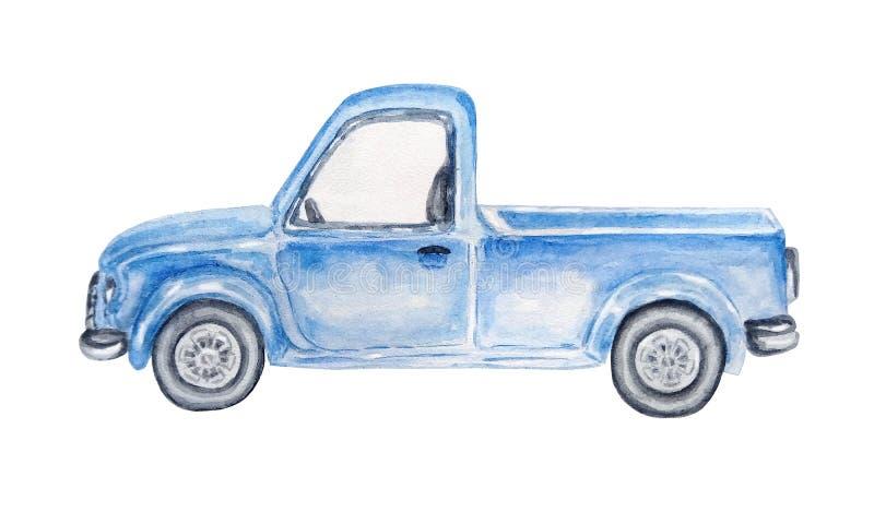 水彩蓝色汽车 向量例证