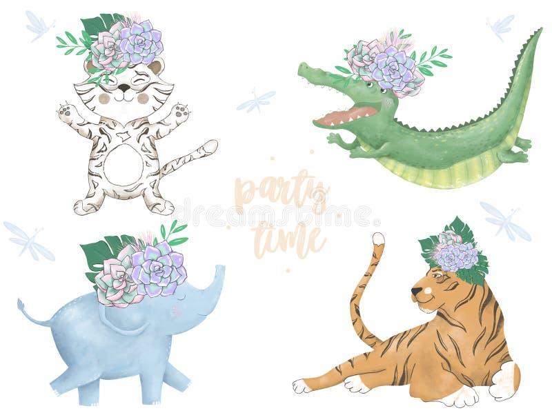 水彩老虎Croc大象狮子数字动物园剪贴美术逗人喜爱的动物和花 党时间文本 招呼庆祝生日 向量例证