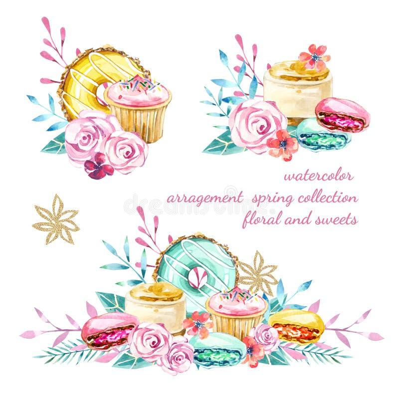 水彩arragement春天夏天汇集,花卉和甜点 库存例证