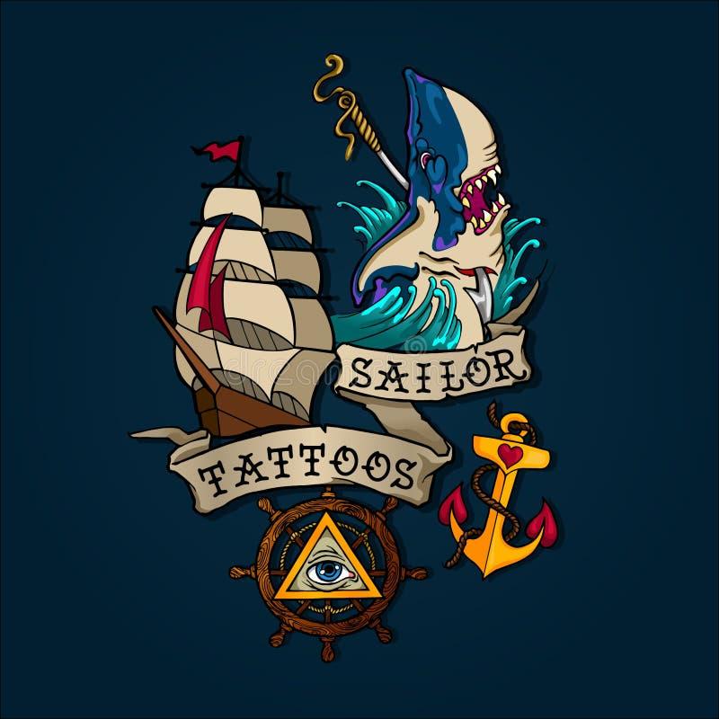 水手纹身花刺集合 皇族释放例证