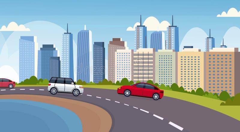 汽车和驾驶沥青在美好的河城市全景摩天大楼都市风景的乘客公共汽车高速公路路 库存例证