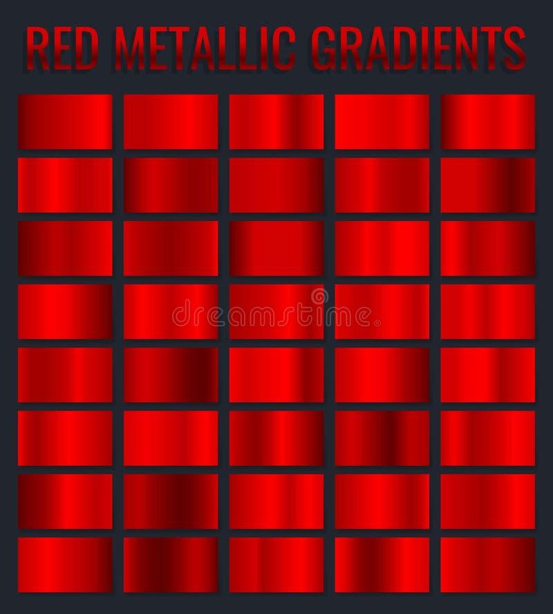 汇集红色金属梯度,镀铬物圣诞节梯度集合 也corel凹道例证向量 库存例证
