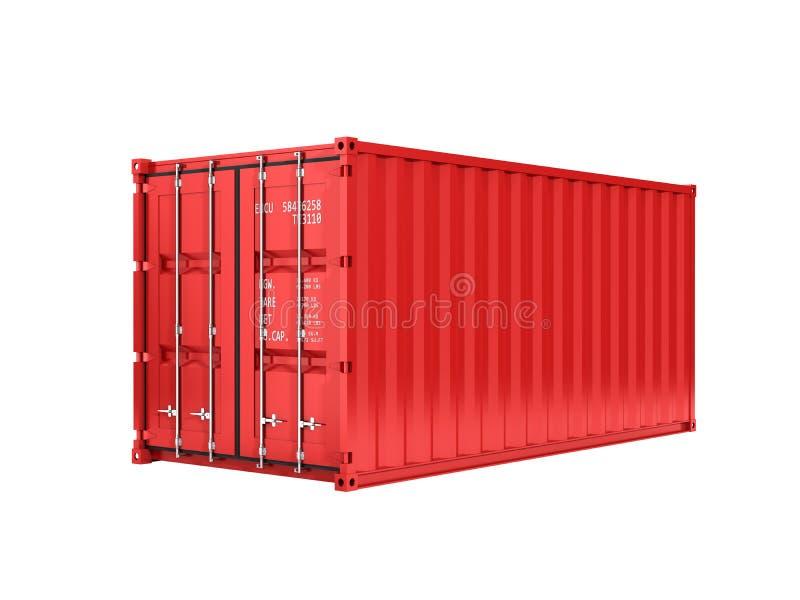 没有题字的红色货运容器在没有阴影的白色背景3d 皇族释放例证