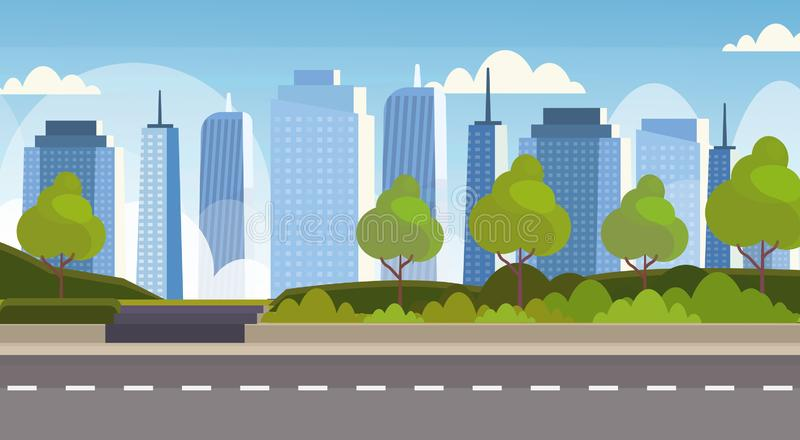 沥青在城市全景高摩天大楼都市风景背景地平线平的水平的横幅的高速公路路 向量例证