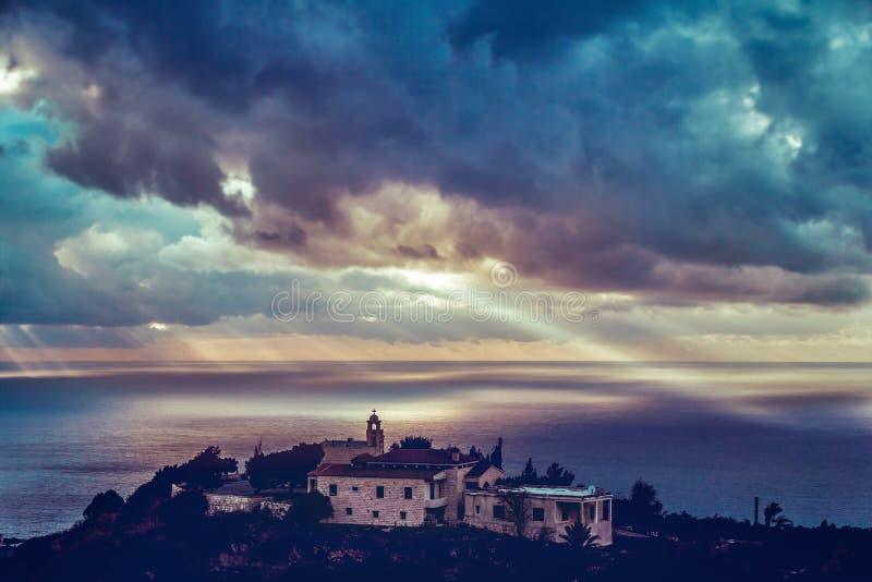 沿海教会 库存图片