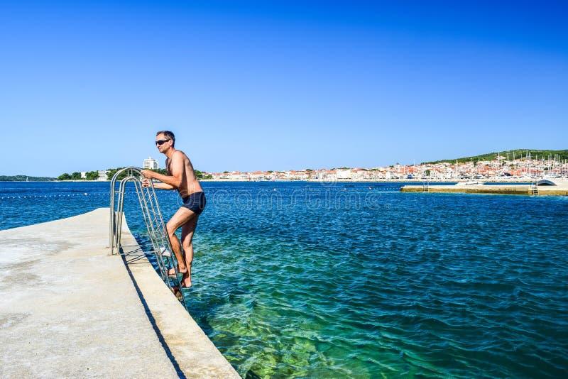 沃迪采海滩,克罗地亚 免版税图库摄影