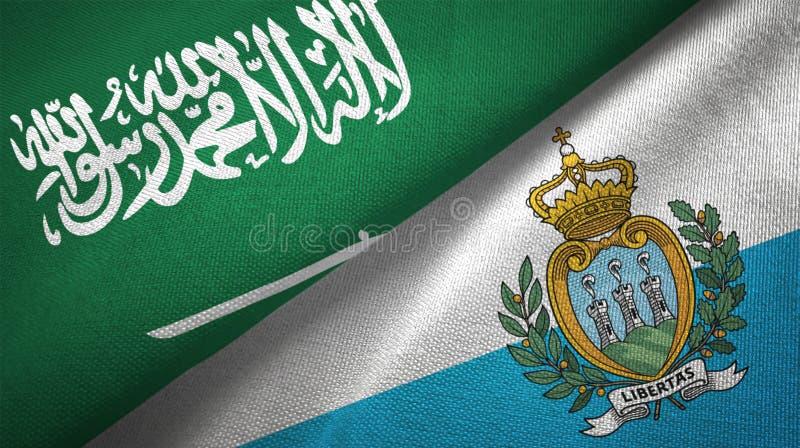 沙特阿拉伯和圣马力诺两旗子纺织品布料,织品纹理 向量例证