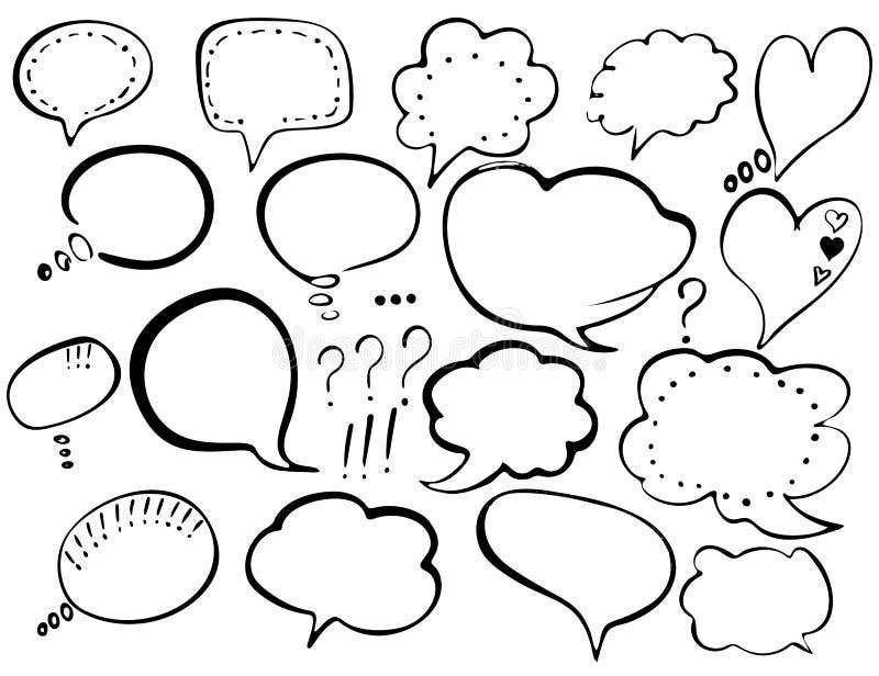 泡影图象人员演讲联系的向量 T恤杉印刷品的,飞行物,海报设计手拉的被绘的讲话泡影 黑讲话起泡隔绝 库存例证