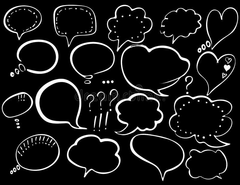 泡影图象人员演讲联系的向量 T恤杉印刷品的,飞行物,海报设计手拉的被绘的讲话泡影 白色讲话起泡隔绝 库存例证