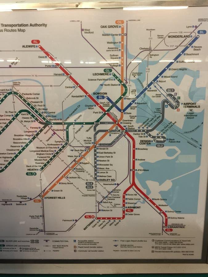 波士顿地铁地图城市 免版税库存照片