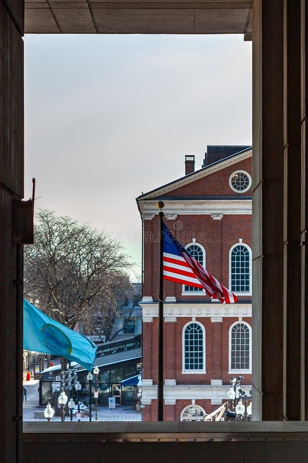 波士顿,美国2019年3月01日:Bostonian社会维护一个图书馆和博物馆在老州议会大厦里面 免版税库存照片