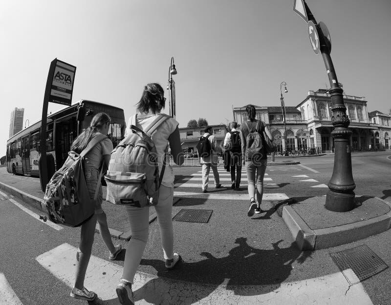 波尔塔苏萨驻地在黑白的都灵 图库摄影