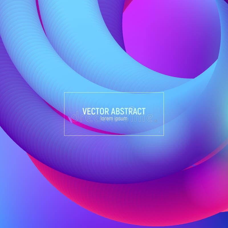 波浪流程形状 3d抽象背景 现代五颜六色的液体 音乐海报的,小册子,布局设计 摘要 向量例证