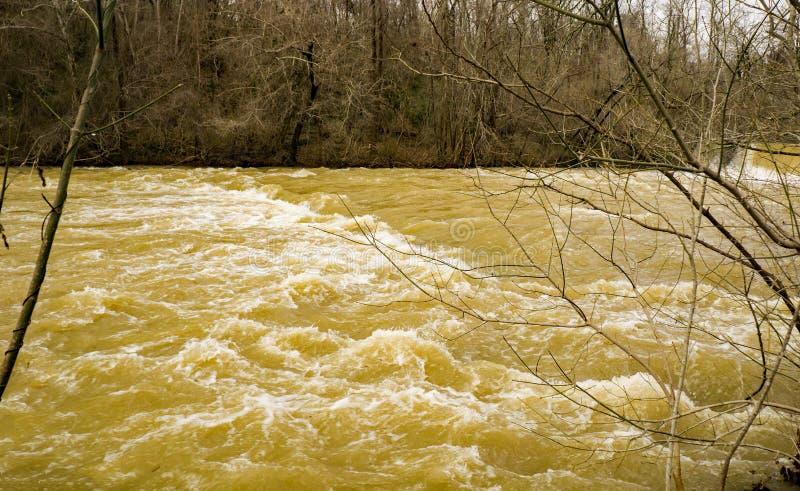 泥工小河在洪水阶段 免版税库存图片
