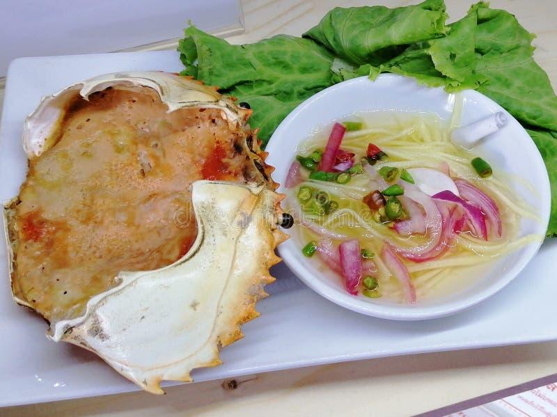 泰国海鲜,被蒸的螃蟹 免版税库存照片