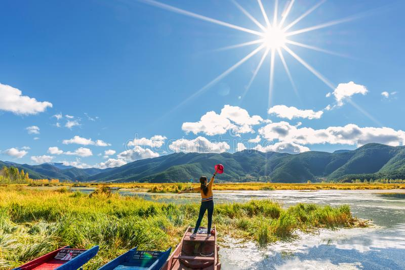 泸沽湖 Lugu lake view stock photo