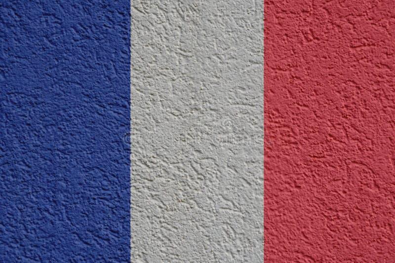 法国政治或企业概念:有膏药的,纹理法国旗子墙壁 皇族释放例证