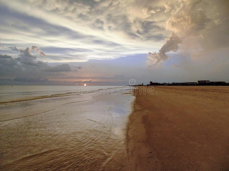 海滩日落午睡钥匙佛罗里达 免版税库存照片