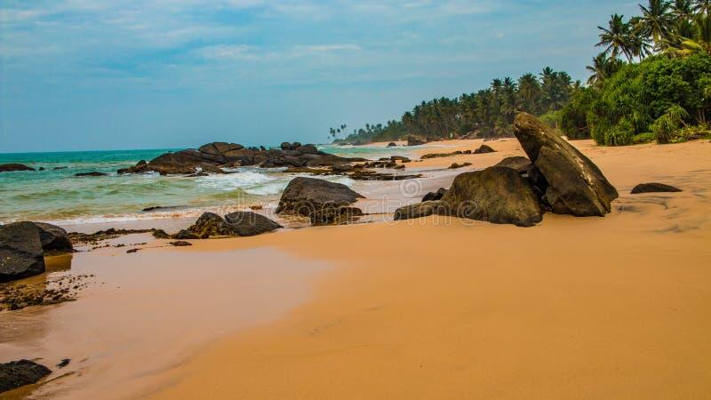海滩热带未触动过 热带假期在斯里兰卡 库存图片