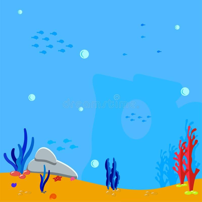 海洋场面 水下的背景 泡影浇灌并且现出轮廓海草、海藻和珊瑚 蓝色剪影鱼 向量 库存例证