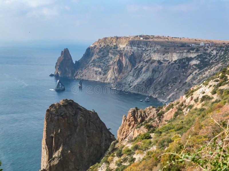 海角Fiolent美丽的景色在黑海的 旅游业的著名地方在塞瓦斯托波尔附近在克里米亚 免版税库存照片