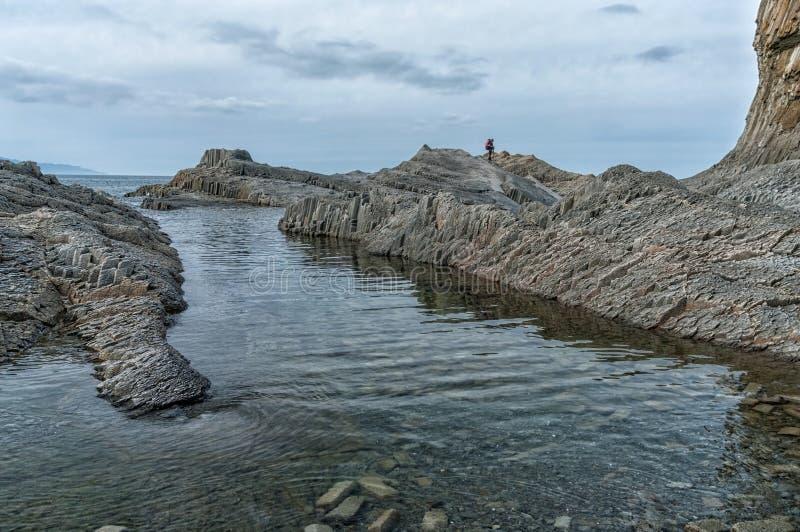 海角Stolbchaty,在萨哈林州,俄罗斯国后岛东部岸的地理海角  免版税库存照片