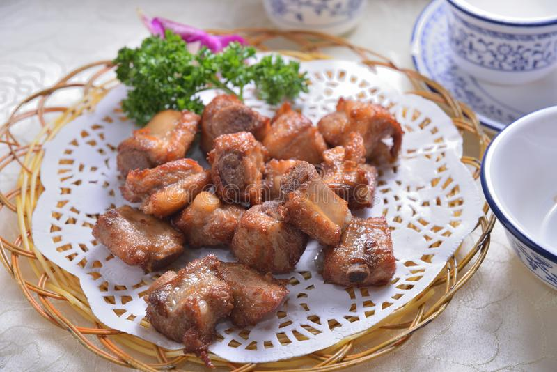 浅油煎的猪肉矿块 免版税库存照片