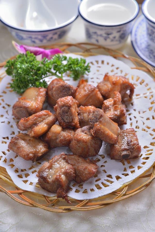 浅油煎的猪肉矿块 免版税图库摄影