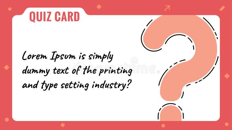 测验卡片、问号,答问比赛模板&背景,投票,对组织工作活动,QuestionnaireQuiz卡片,问号 向量例证