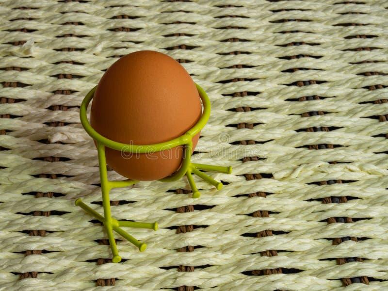 淡色红皮蛋为假日复活节做准备反对从一条白色绳索的背景和a黑暗的分支  免版税库存照片