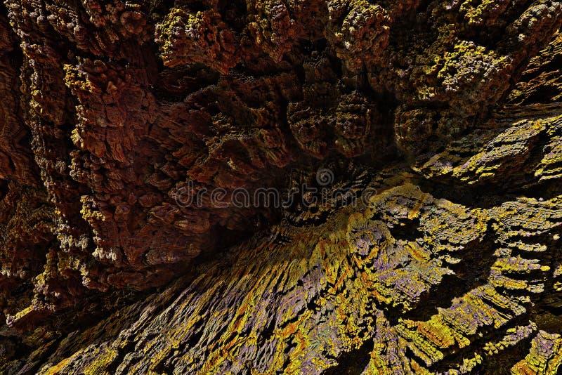 深悬崖鸟瞰图-幻想峡谷风景 库存例证