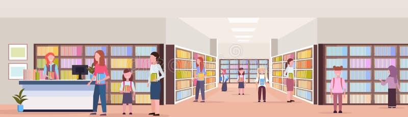 混合借用书的种族学生从图书管理员现代图书馆书店内部读的教育知识概念 向量例证