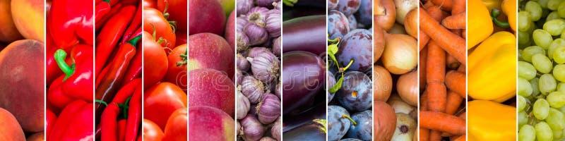 混合颜色水果和蔬菜 新鲜的成熟食物 皇族释放例证