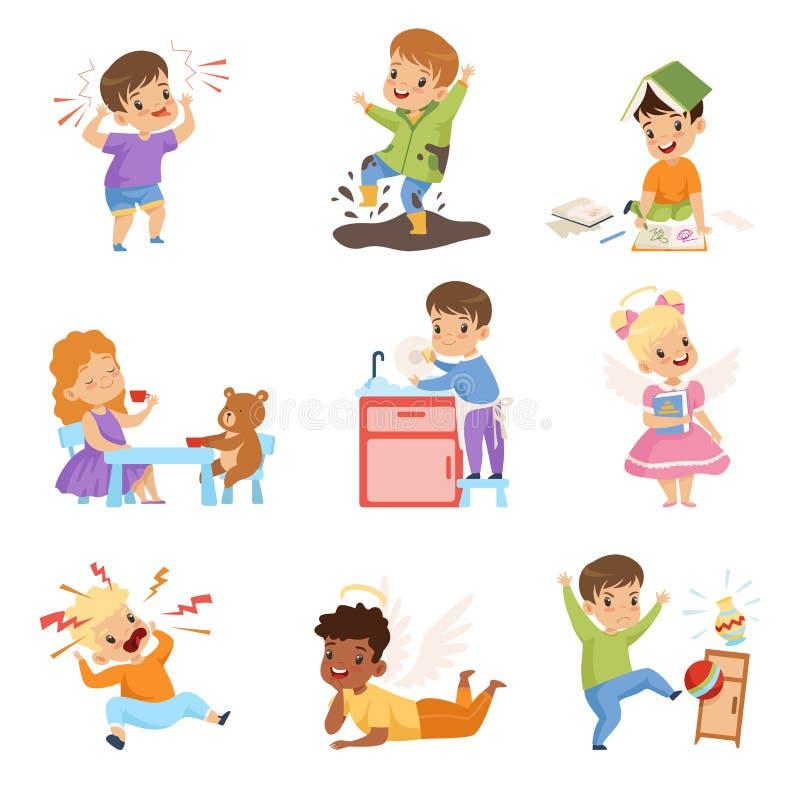 淘气和服从的孩子设置,有有礼貌的孩子,并且小流氓导航例证 库存例证