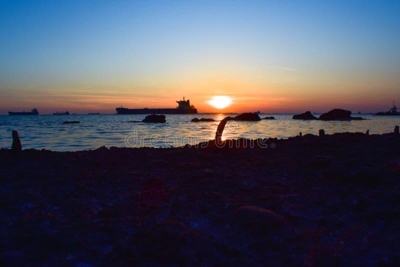 温暖的日落的美丽的平安的射击 库存照片