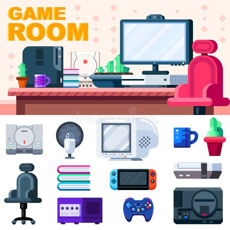 游戏厅设定 有套的游戏玩家工作场所对象 也corel凹道例证向量 向量例证