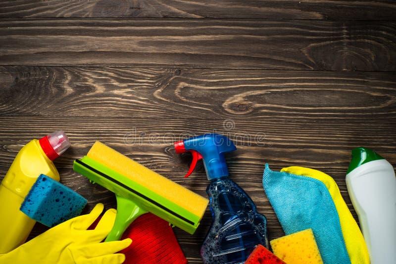 清洁产品,家庭木台式视图 库存照片