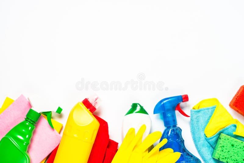 清洁产品,在白色顶视图的家庭 免版税库存图片