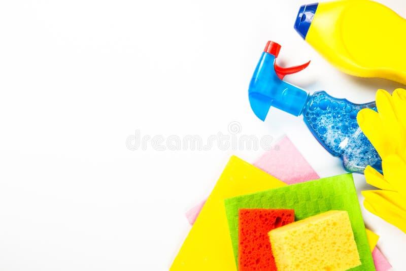 清洁产品,在白色顶视图的家庭 免版税图库摄影