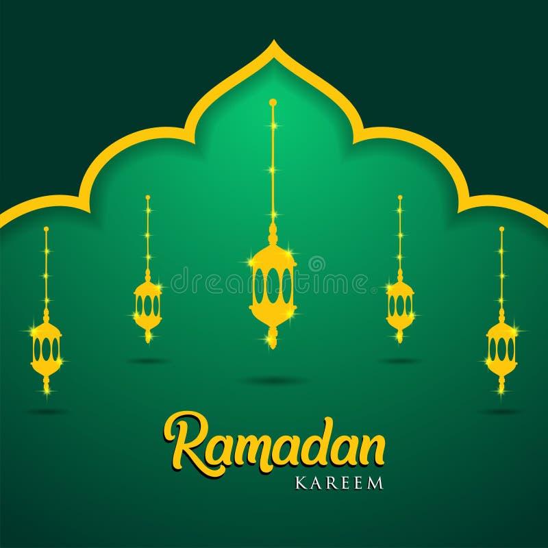 清真寺和灯笼在绿色背景 回教贺卡斋月Kareem,自由名片模板-例证 向量例证