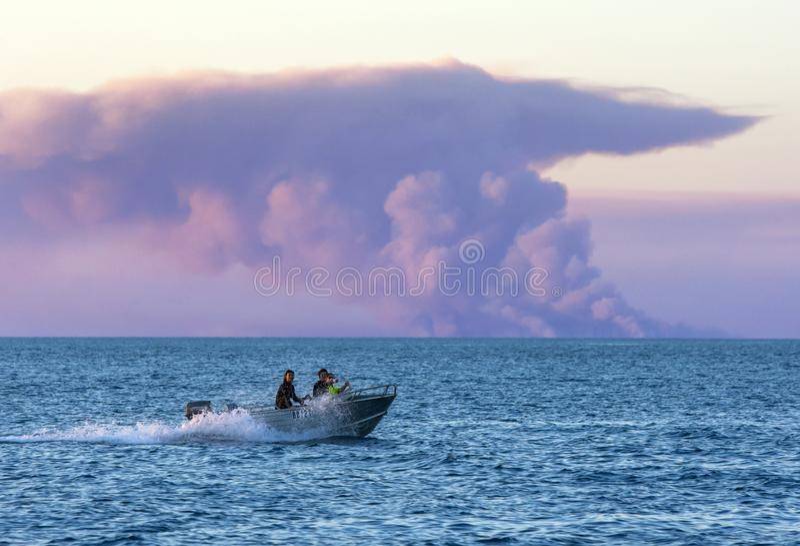 渔船在印度洋移动 图库摄影