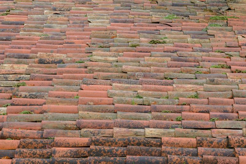 湿瓦片行在房子关闭的屋顶的,背景,纹理 库存图片
