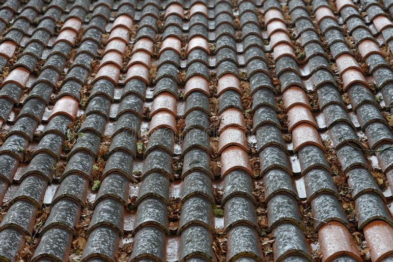 湿瓦片行在房子关闭的屋顶的,背景,纹理 库存照片