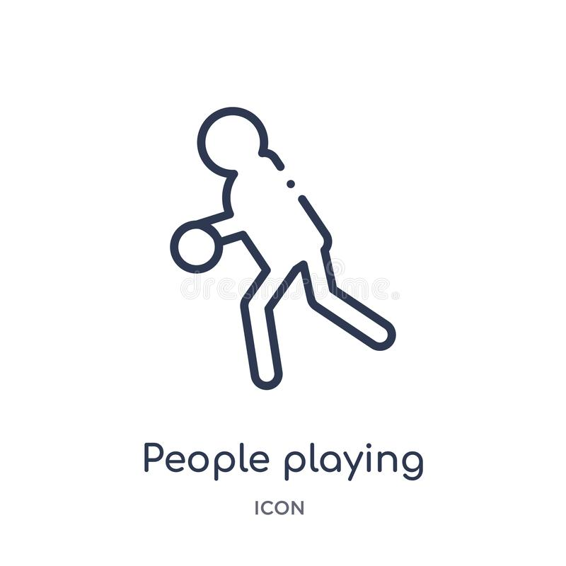 演奏从消遣比赛概述收藏的人们篮球象 稀薄的线演奏篮球象的人们被隔绝  库存例证