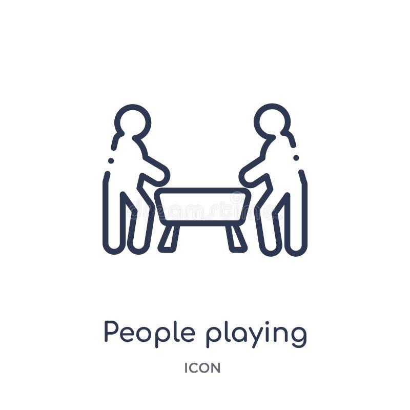 演奏桌从消遣比赛概述收藏的人们橄榄球象 稀薄的线演奏桌橄榄球象的人们 库存例证