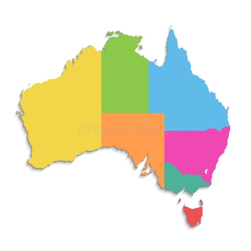 澳大利亚地图,新的政治详细的地图,分开的各自的状态,当状态名字,被隔绝在白色背景3D空白 皇族释放例证