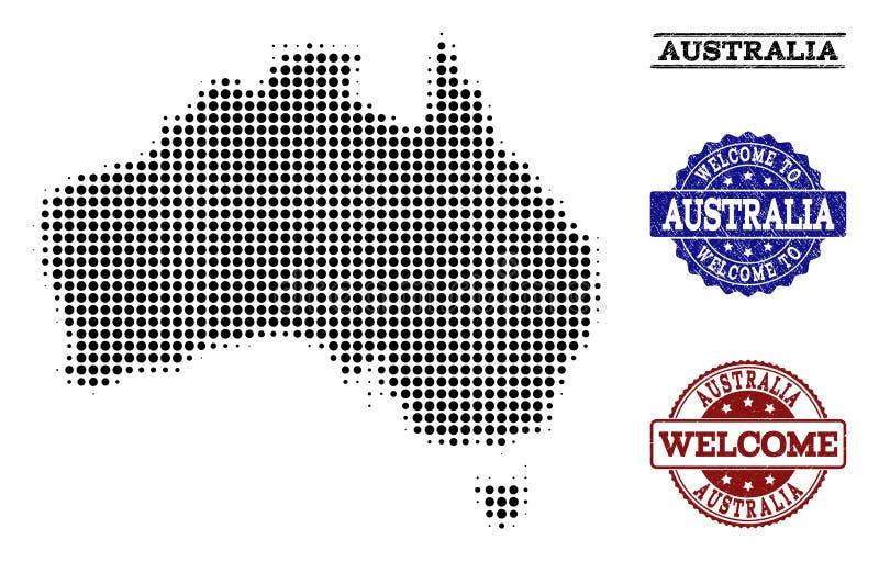 澳大利亚和困厄封印半音地图的受欢迎的构成  库存例证