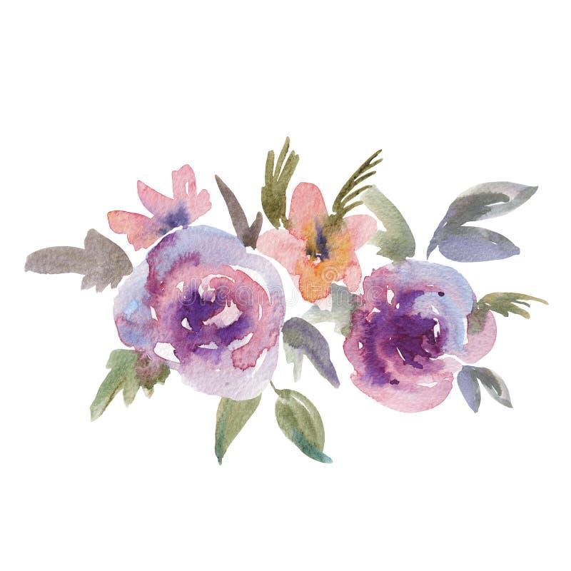 柔和的紫色水彩玫瑰花卉贺卡 向量例证