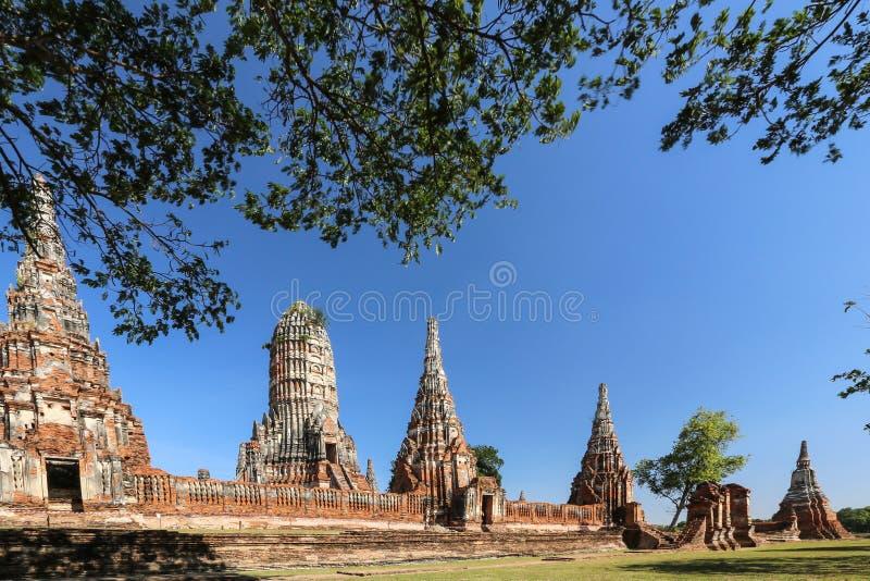 柴瓦塔那兰寺是佛教寺庙在阿尤特拉利夫雷斯历史公园,泰国,旅行概念城市 免版税库存图片